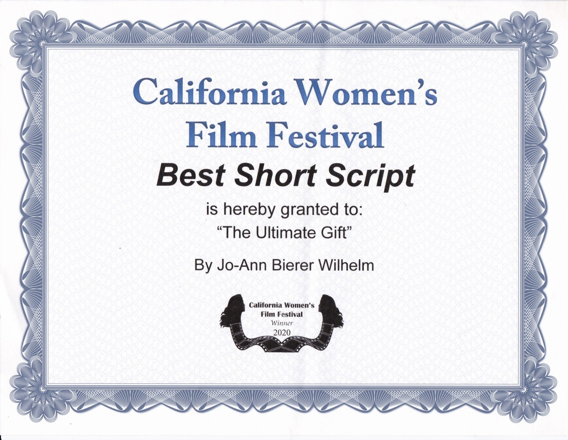 California Women's Film Festival 2020_Best Short Script